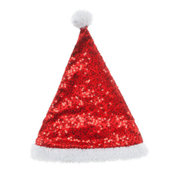 Top off your furry friend with a festive Red Sequin Santa Hat. This cool hat is the perfect accessory for your furry friend to wear to a Christmas party.