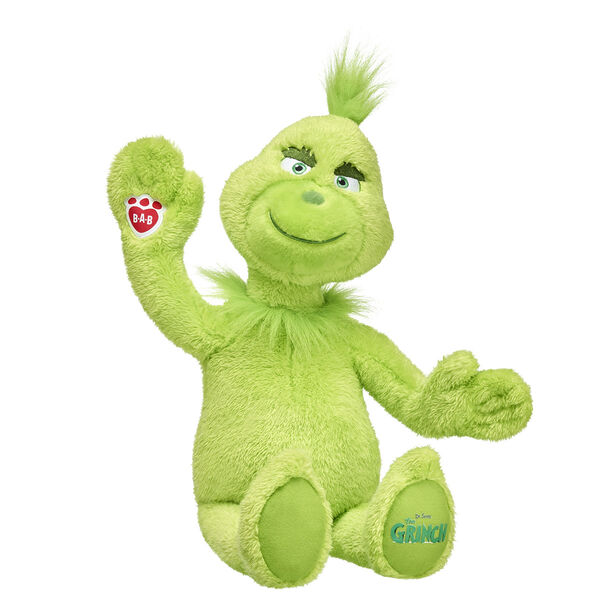 "He's a mean one — but he's also a cute furry friend that's sure to put a smile on anyone's face this Christmas! With soft green fur and the official ""Dr. Seuss' The Grinch"" movie logo on his paw pad, this Grinch furry friend is a fun way to relive the magic of the classic Dr. Seuss story. Add sounds and outfits to your plush Grinch stuffed animal to make him even more of a sly one. The Grinch might have invented the Naughty List, but he makes a perfect gift for anyone on the Nice List! Dr. Seuss' The Grinch © Universal Studios. The Grinch and related characters © & TM Dr. Seuss Enterprises, L.P. Licensed by Universal Studios. All Rights Reserved."