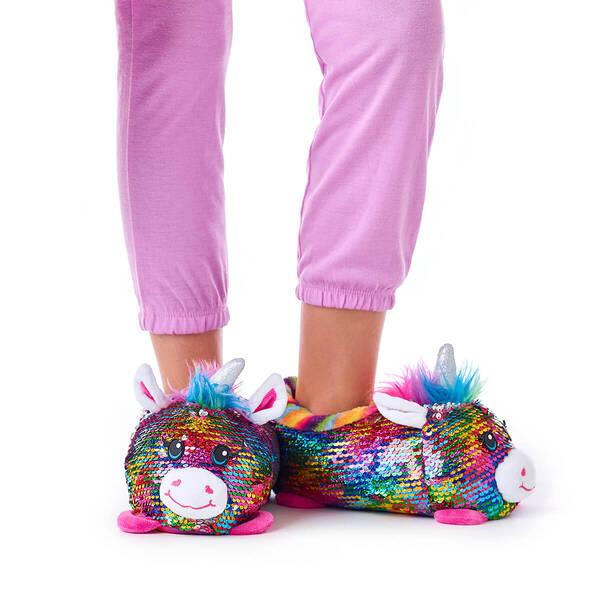Unicorn Sequin Slippers, , hi-res
