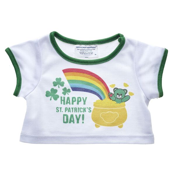 """Feeling lucky? Have a wee bit o'fun with this teddy-bear sized """"Happy St. Patrick's Day"""" T-Shirt! Build-A-Bear Workshop offers hundreds of unique stuffed animal clothing & accessory options you won't find anywhere else. Outfit a furry friend online to make the perfect gift!"""