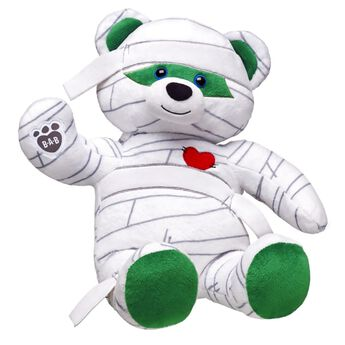 Get caught up in fun with Mummy Teddy! This ancient friend is wrapped up in white cloth. Don't be afraid of Mummy Teddy- this teddy has a heart and a sweet smile. Personalise it with sounds and accessories to make the perfect unique gift.