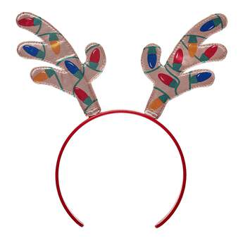 Any furry friend can get in the spirit with this festive headband! This red stuffed animal headband features reindeer antlers with Christmas lights on them.