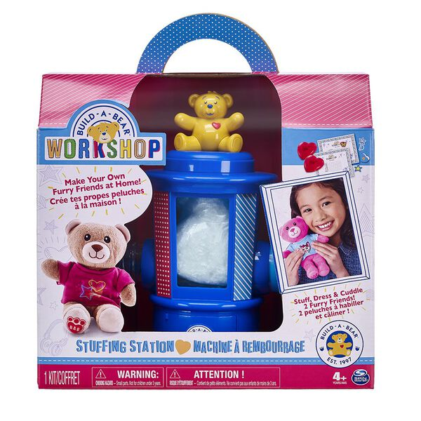 Now you can bring the fun of the Build-A-Bear Workshop® experience home! The Build-A-Bear Workshop® Stuffing Station comes complete with everything you need to stuff, dress and cuddle your very own furry friends! Each Build-A-Bear Workshop® creation is made with love by you! Additional kits sold separately.Price Includes:Build-A-Bear Stuffing Station2 Build-A-Bear Furry Friends2 T-Shirts2 Build-A-Bear Birth Certificates2 Build-A-Bear Hearts22 Paper Accessories2 Bags of Stuffing1 Instruction Guide