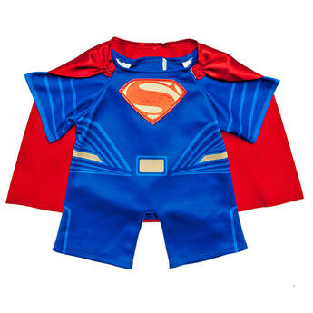 """Your furry friend can protect the city of Metropolis in this Superman Costume. The blue costume features Superman's icon """"S"""" on the chest and includes a red cape. Start an adventure today. ™ &  DC Comics. (s13)"""