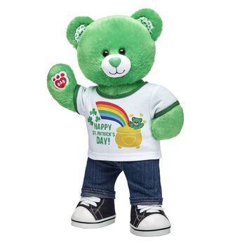 Looking for the perfect gift at the rainbow's end? This St. Patrick's Day Bear gift set has everything you need for a wee bit o' shamrockin' fun! Give this green furry friend as a lucky gift to someone special. <p>Price includes:</p>  <ul>  <li>St. Patrick's Day Bear</li>  <li>Happy St. Patrick's Day T-Shirt </li>  <li>Denim Jeans</li>  <li>Black Canvas High-Tops</li>    </ul>