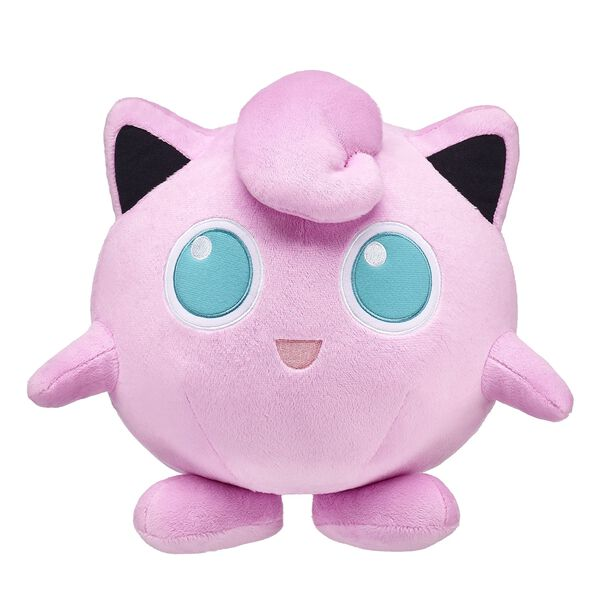 Calling all Pokémon Trainers — add Jigglypuff to your team! This round, pink Pokémon has pointed ears, big eyes and a curled tuft of fur on its head. Jigglypuff's large blue eyes are used to mesmerize opponents! Plus, Jigglypuff comes with a FREE Build-A-Bear Workshop Exclusive Pokémon TCG Card! ©2018 The Pokémon Company International. ©1995–2018 Nintendo / Creatures Inc. / GAME FREAK inc. TM, ®, and character names are trademarks of Nintendo.