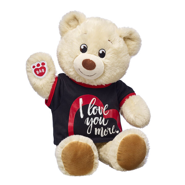 creme coloured teddy bear with i love you more t shirt valentines day gift set