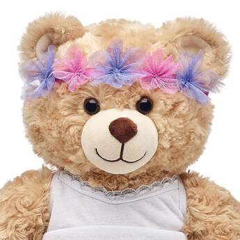 This cute flower crown for stuffed animals is a whimsical way to add a sprinkle of fairy fun to any look! Outfit a furry friend online to make the perfect gift. Make your own your own stuffed animal online with our Bear Builder or visit a store near you.