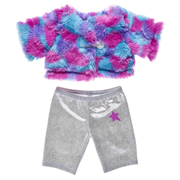 Ooh la la! Your furry friend will look FURbulous in this colourful fur coat and sparkly pair of silver glitter pants!