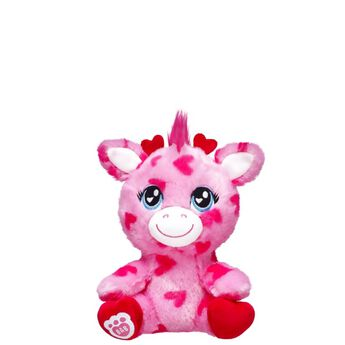 Share your heart this Valentine's Day with this enchanting Build-A-Bear Buddies™ Giraffe! This pink giraffe has red and white paw pads and features an irresistibly cute heart pattern all over its fur. NOTE: Build-A-Bear Buddies only fit in Build-A-Bear Buddies clothing. This item cannot be purchased unstuffed, nor can stuffing adjustments be made. A sound or scent cannot be placed inside this pre-stuffed item.