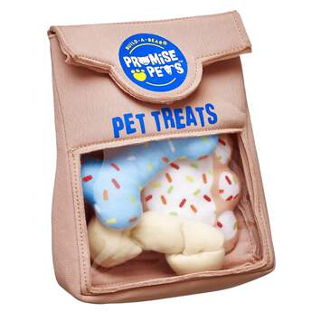 Train your pet! Promise Pets furry friends will learn good manners and how to do tricks for treats. This toy treat bag comes with a biscuit, bone and rawhide.