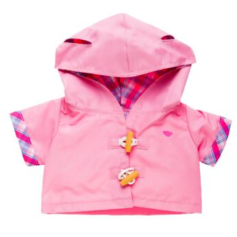 April showers bring May flowers in.¦and a bouquet of sweetness! Your furry friend will stay dry and stylish in this pink rain slicker with plaid lining and cuffs, hood with ear holes and working fasteners.