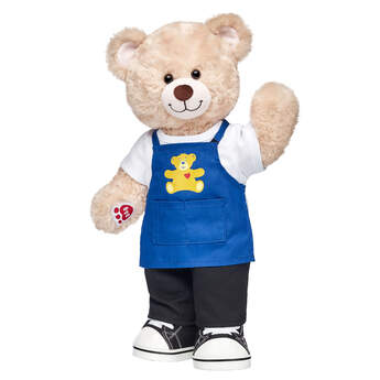 """""""Happy Hugs Teddy looks just like a Bear Builder in this adorable stuffed animal gift set! This furry friend comes with an apron, white T-shirt, black pants and canvas high-tops. At Build-A-Bear, every furry friend is made with love, and this cute gift set is a BEARY special way to give a gift with heart.  <p>Price includes:</p>  <ul>    <li>Happy Hugs Teddy</li>     <li>White T-Shirt</li>    <li>Blue Build-A-Bear Apron </li>    <li>Black Pants</li>    <li>Black Canvas High-Tops</li> </ul>"""""""
