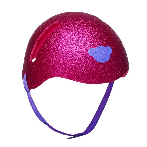 Your furry friend's head will be safe AND look super stylish in this cute helmet! No matter what sport or activity your furry friend is doing, this pink glitter helmet will keep its head protected. The helmet also features a purple chin strap and a purple bear emblem on the front of it. Be sure your furry friend has its helmet on before going out to play!