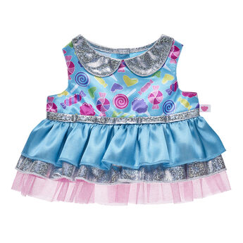 This stylish dress is sure to satisfy the fashion needs of any furry friend with a sweet tooth! This adorable blue and silver look features an all-over print of cute hearts and candies.