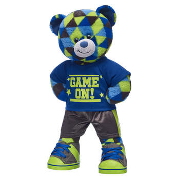 Game on! No matter what their game of choice is, this cheerful teddy bear is ready to put the PLAY in playtime! With its special fur pattern and athletic outfit included, this sporty teddy bear makes an action-packed gift!