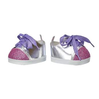 Step to it! With purple laces and a fuchsia toe, these sparkly silver shoes make for the perfect fit! Personlize a furry friend to make the perfect gift. Shop online or visit a store near you!