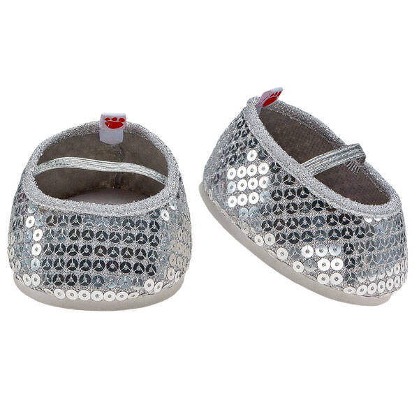 Teddy bear size silver sequin flats make paws shine.