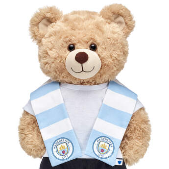 Go Manchester City! Football fans can root on their favourite club with this bear-sized scarf for their furry friend.