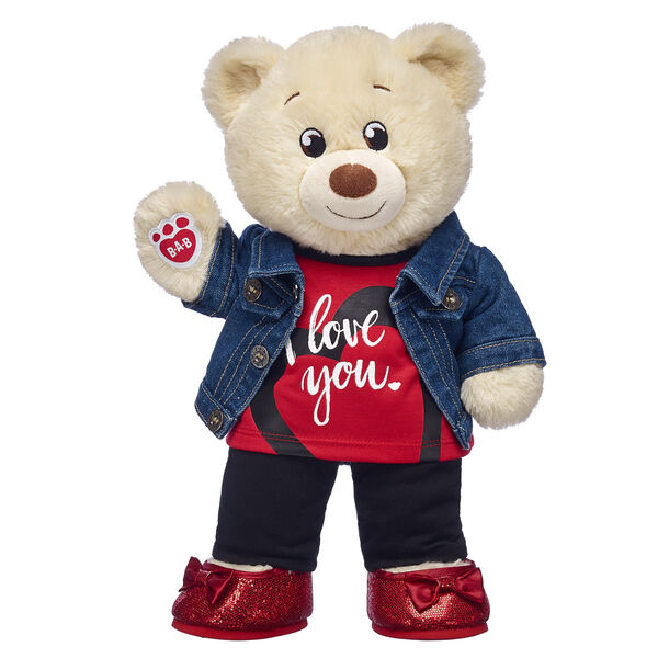teddy bear valentines day gift set with i love you t shirt jeans and red sparkle shoes