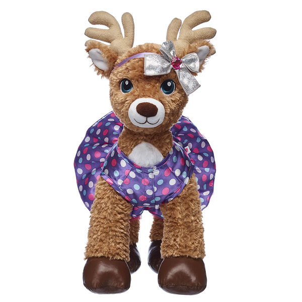 Purple Polka Dot Reindeer Dress & Bow Set 2 pc., , hi-res