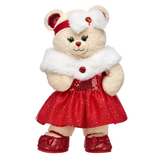 Make it a classic Christmas with this online exclusive gift set! Christmas Joy Bear is sure to send tidings of good cheer in its wonderfully festive outfit. <p>Price includes:</p>  <ul>    <li>Christmas Joy Bear </li>    <li>Red Sequin Christmas Dress</li>    <li>Red and White Christmas Headband/li>    <li>Red Sparkle Bow Flats</li> </ul>