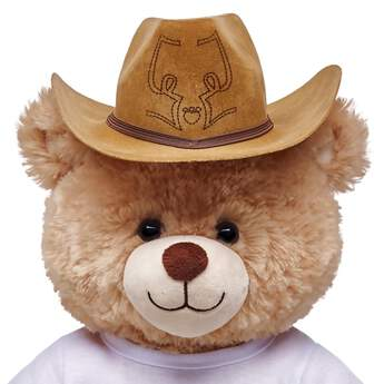 Your furry friend will be ready for the open trails with this classic Cattleman style cowboy hat. this light brown cowboy hat is the perfect accessory.