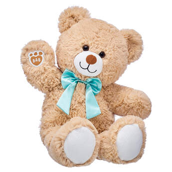 Online Exclusive Cuddly Brown Bear with Blue Bow, , hi-res