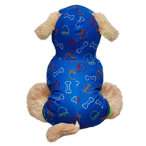 Your Promise Pet will be doggone cute in this Blue Bone Outfit! It has a bone and paw print design with a hoodie and holes for their ears.