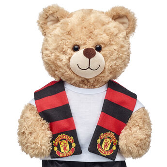 Go Manchester United! Football fans can root on their favourite club with this bear-sized scarf for their furry friend.
