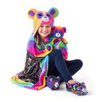 Fuzzy Rainbow Panda Deluxe Gift Set, , hi-res