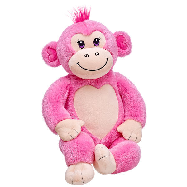 It's no monkey business! Strawberry Monkey has pink fur and a great big smile. Personalise this sweet plush monkey with clothing and accessories for the perfect unique gift.