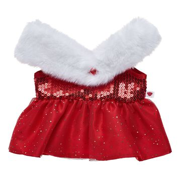 Have a Beary Merry Christmas by dressing your furry friend in this beautiful red sequin dress. With a sparkly skirt portion and oversized white faux fur collar, this stunning stuffed animal dress is sure to be the talk of the season.