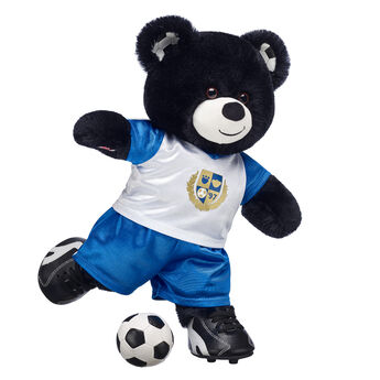 Goal! Sporty Bear shoots and scores with soft black fur and soccer ball ears and paw pads. You can even add a plush soccer ball, uniform and turf shoes so your furry friend is ready to hit the field!