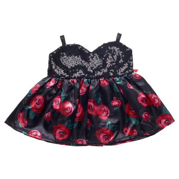 Online Exclusive Black Sequin Rose Dress - Build-A-Bear Workshop®