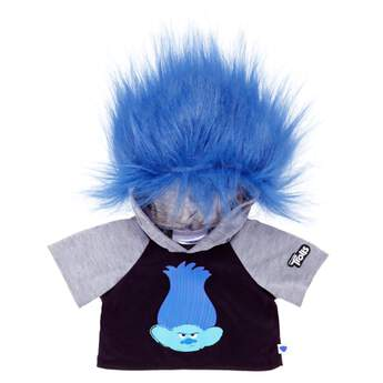 Time for your furry friend to get wild, DreamWorks Trolls-style! This black sweatshirt has Branch's grumpy face, grey sleeves and a hood with blue Trolls hair attached.DreamWorks Trolls © 2016 DreamWorks Animation LLC. All Rights Reserved.