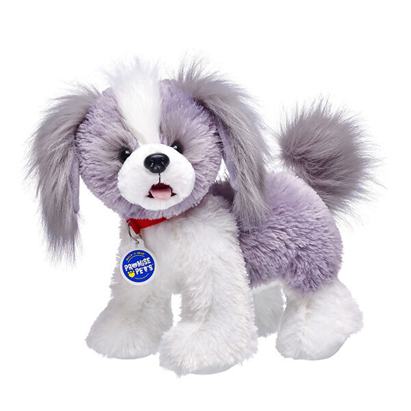Shih Tzu are playful pups known for their long silky hair, curly tail and adorable underbite. They are loyal pets who are affectionate and love to be at their master's side. Shih Tzus have grey and white fur and bushy little tails! Personalise your Shih Tzu with outfits and accessories to make the perfect unique gift!