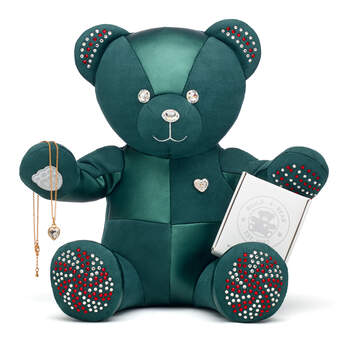 Online Exclusive Build-A-Bear Season's Sparklings Collectible Decorated with Swarovski® crystals and Heart Stone Pendant Gold Necklace, , hi-res