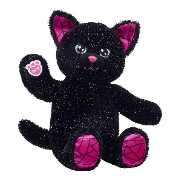 halloween black cat stuffed animal sitting and waiving