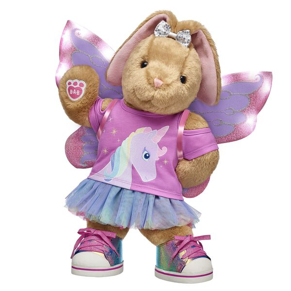 Hop into a land of fantasy fun and experience playtime with Pawlette! This lovable bunny makes for an enchanting gift with its sparkly light-up fairy wings and fun unicorn tee.
