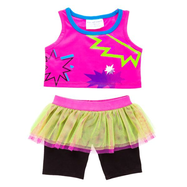 This fun outfit is perfect for Monster Mixters! This crazy pink tank top has zig zag shapes. The black leggings have an attached tutu.