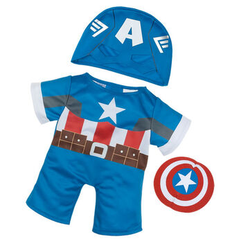 Teddy bear size Captain America Costume includes a blue Captain America uniform, mask and shield. ™ &  Marvel & Subs.