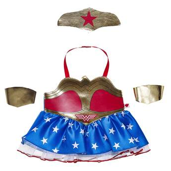 This Wonder Woman costume turns any furry friend into an iconic superhero! Dress your Wonder Woman Cat or other favorite furry friend in this four piece costume inspired by Wonder Woman's trademark look. Featuring the red and gold dress with a blue and white star pattern on the bottom, this set also includes two gold wrist cuffs and a gold headpiece. It's a powerful look that will delight DC fans of all ages! ™ &  DC Comics. (s13)