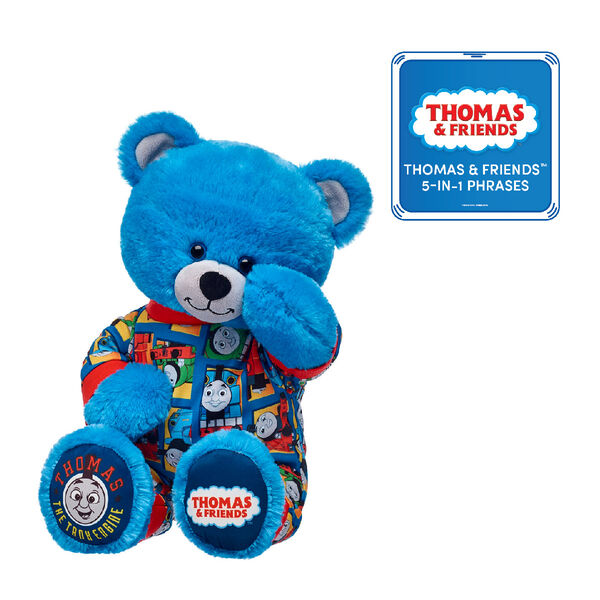 This cuddly Thomas & Friends™ gift set makes a wonderful gift for little engineers! They'll love cuddling with their own Thomas & Friends™ Bear in its cosy pyjama sleeper. Plus, they'll be able to hear the voice of the most famous tank engine in the world with the included Thomas & Friends™ 5-in-1 Phrases! © 2018 Gullane (Thomas) Limited.