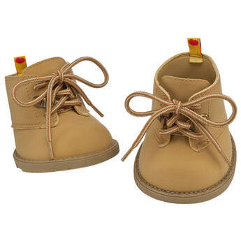 Complete your teddy bear's look by strapping these rugged tan hiking boots on the paws of your furry friend, then hit the trails! These teddy bear-sized tan hiking boots are the pawfect addition to a casual or outdoors outfit for your teddy bear. Get a pair of Bearland Boots for your beary special stuffed animal today!