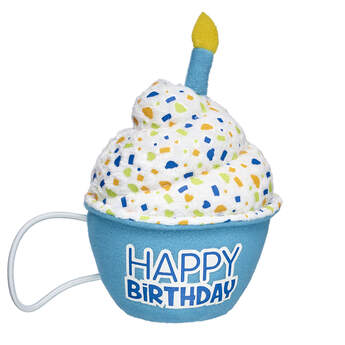 Birthdays are a BEARY big deal, so celeBEARate their day the Build-A-Bear way! This special blue cupcake makes a sweet accessory for any furry friend. The colourful cupcake attaches to a furry friend's paws with elastic bands and has a pretend candle on top.
