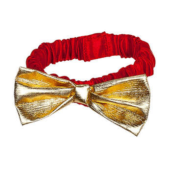 Add this festive Gold Bow Tie Collar to a new furry friend to make a festive gift this Christmas season. The teddy bear size red collar has a gold bow. It's the perfect accessory for a stuffed reindeer, dog or cat gift for your loved one.