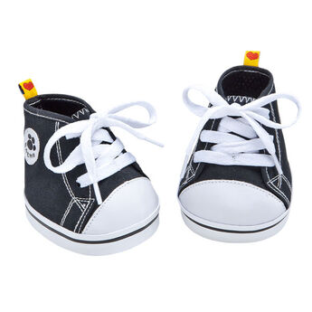 Teddy bear size black canvas high-tops have white laces and a BABW® patch on the side.