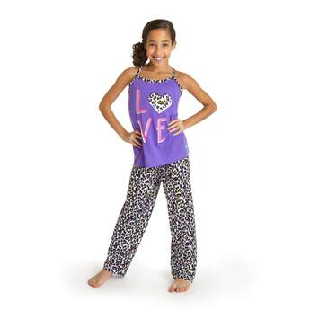 It's a pyjama party, leopard print-style! Get ready for bed in these comfy-cute PJs with a sleeveless purple top with LOVE spelled out and leopard print trim, and matching leopard print pyjama pants. Dress your furry friend in a matching set! Size 5/6.