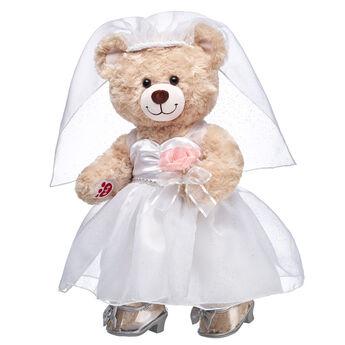 Here comes the BEARide! Give someone special a wedding gift that they will cherish FURever. Happy Hugs makes a beautiful bride in this cuddly gift set! <p>Price includes:</p>  <ul>    <li>Happy Hugs Teddy</li>    <li>Wedding Dress Set 3 pc.</li>    <li>Silver Sparkle Heels</li> </ul>
